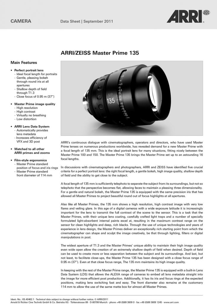 Data Sheet SET ZEISS MASTER PRIMES