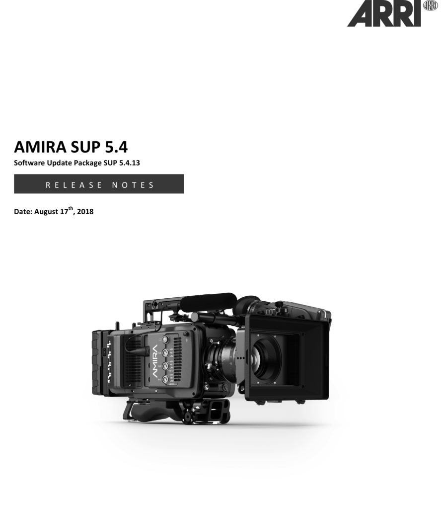 ARRI AMIRA PREMIUM Release Notes