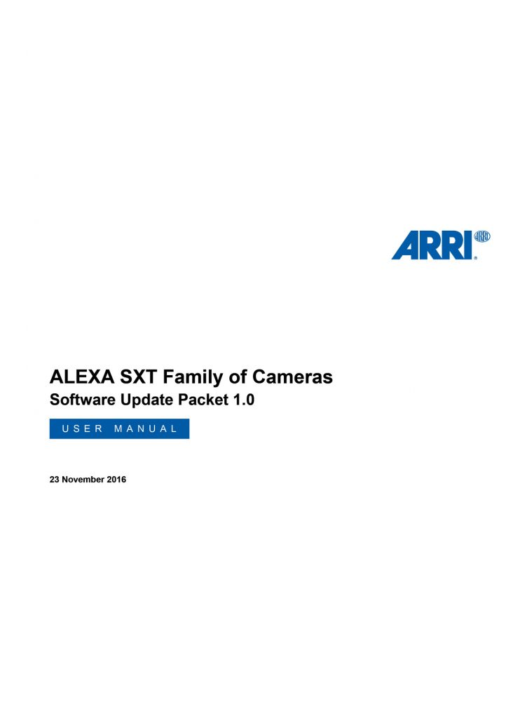 ALEXA SXT Family - USER Manual