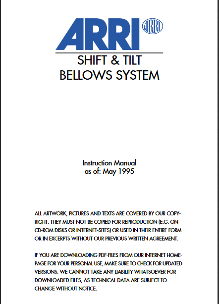 ARRI Shift & Tilt System Manual