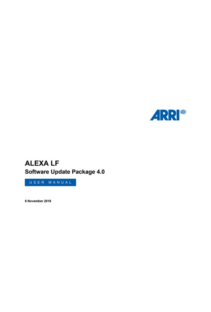 Arri Alexa LF User Manual SUP 4-0