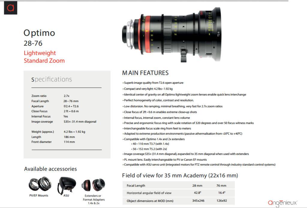 objetivo Angénieux OPTIMO 28-76mm T2.6 - data sheet