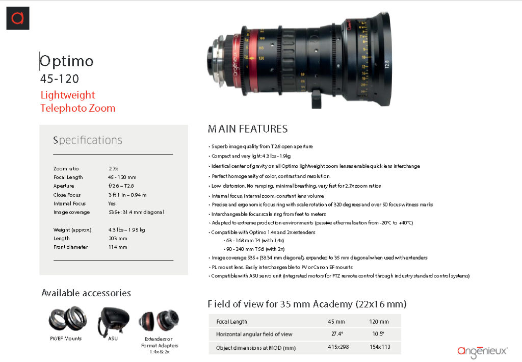 Angénieux OPTIMO 45-120mm T2.8 Data Sheet