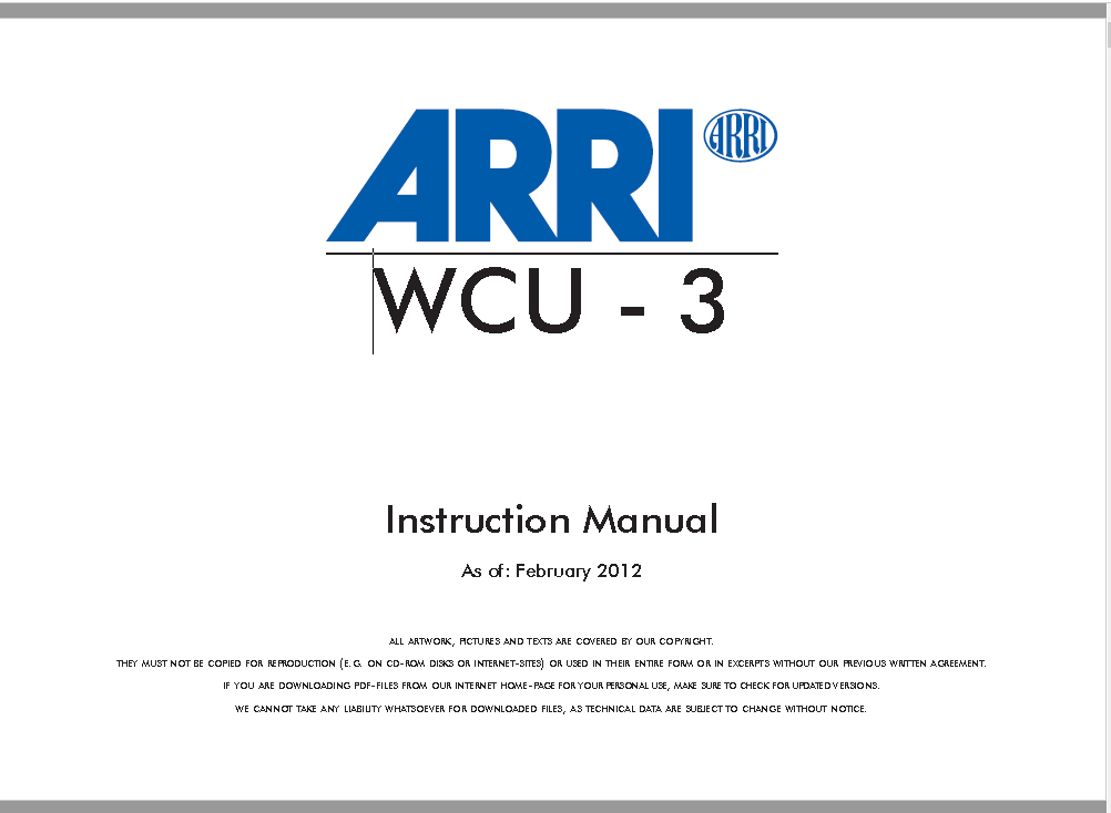 Arri Wireless Compact Unit WCU-3 Manual