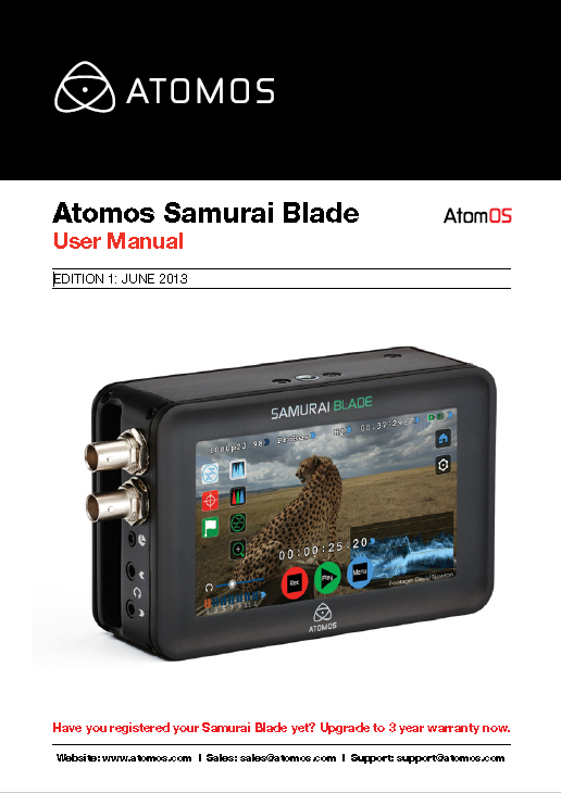 Atomos Samurai Blade User Manual