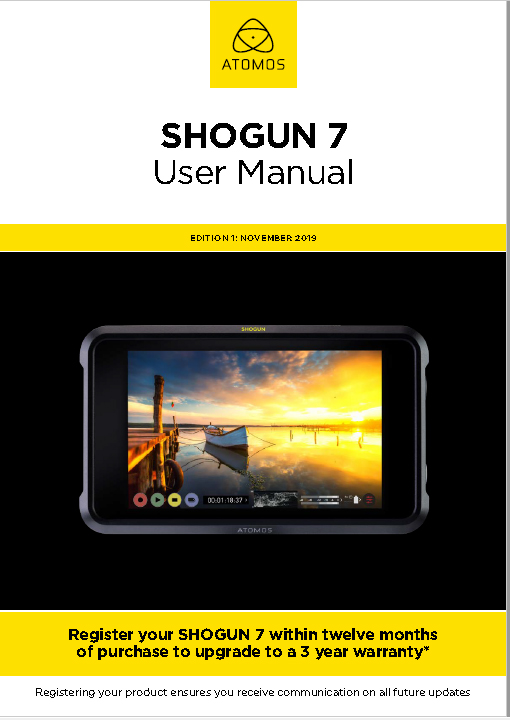 "Atomos Shogun 7"" HDR Monitor-Recorder-Switcher User Manual"