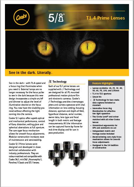 ópticas Cooke 5/i Prime Lenses T1.4 - Brochure