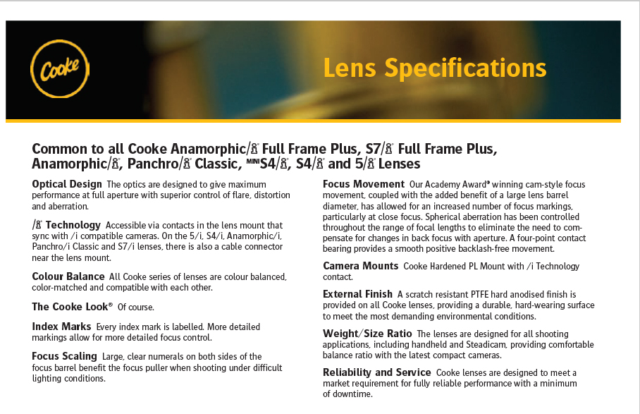 ópticas Cooke 5/i Prime Lenses T1.4 - Lens specifications