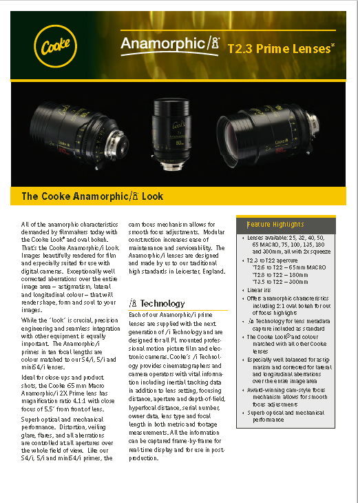 Cooke Anamorphic/i Prime Lenses brochure