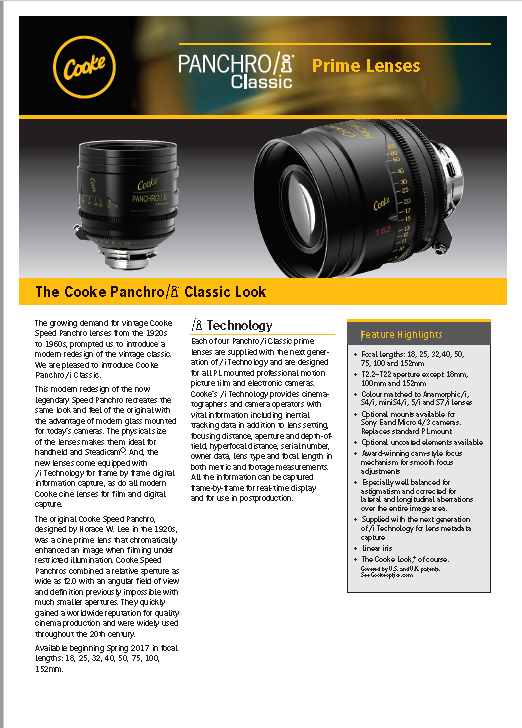 ópticas Cooke PANCHRO/i Classic - Catálogo