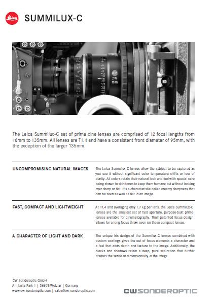 Leica Summilux-C brochure