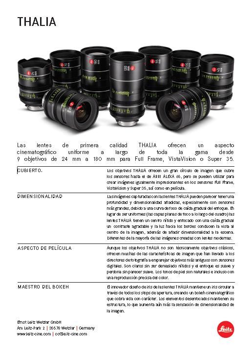 Alquiler Ópticas Leica Thalia - Data Sheet Español