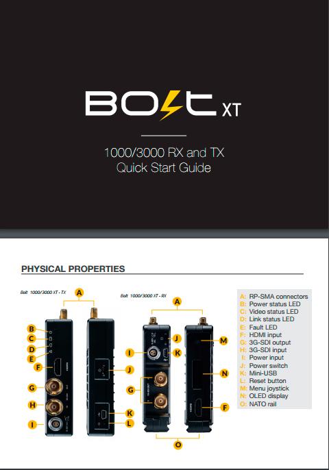 TERADEK Bolt 1000 / 3000 Wireless Video - Quick Start Guide