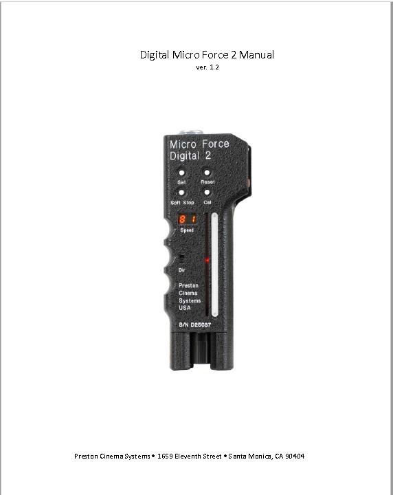 Preston Digital Micro Force 2 Zoom Control - Manual