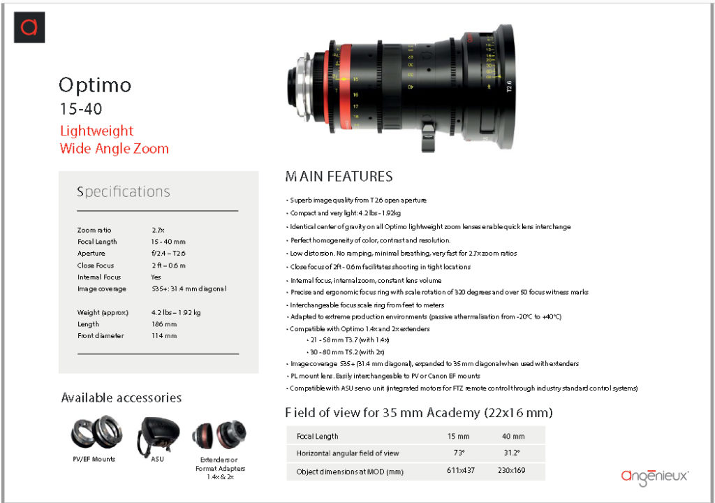 Angénieux 15-40mm Optimo Spherical T2.6