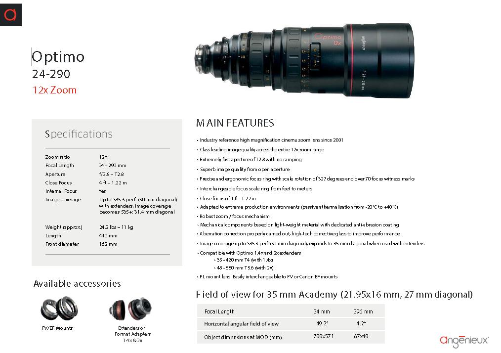 24-290mm Angénieux Optimo T 2.8 - brochure
