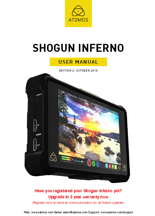 Manual Monitor/Grabador Atomos 7″ Shogun Inferno 4K HDR 60p.