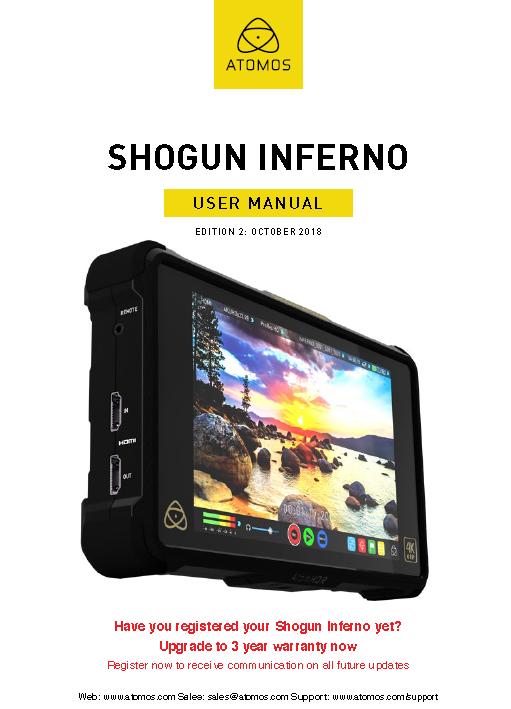 Manual Monitor/Grabador Atomos 7″ Shogun Inferno 4K HDR 60p.