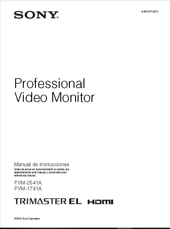 """Monitor SONY Trimaster OLED 25 """" Manual"""