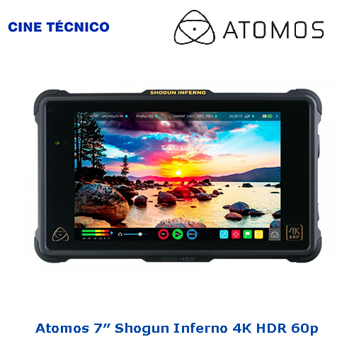 Alquiler Atomos 7″ Shogun Inferno 4K HDR 60p - Cine Técnico