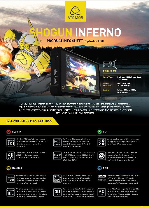Monitor/Grabador Atomos 7″ Shogun Inferno 4K HDR 60p. - Brochure