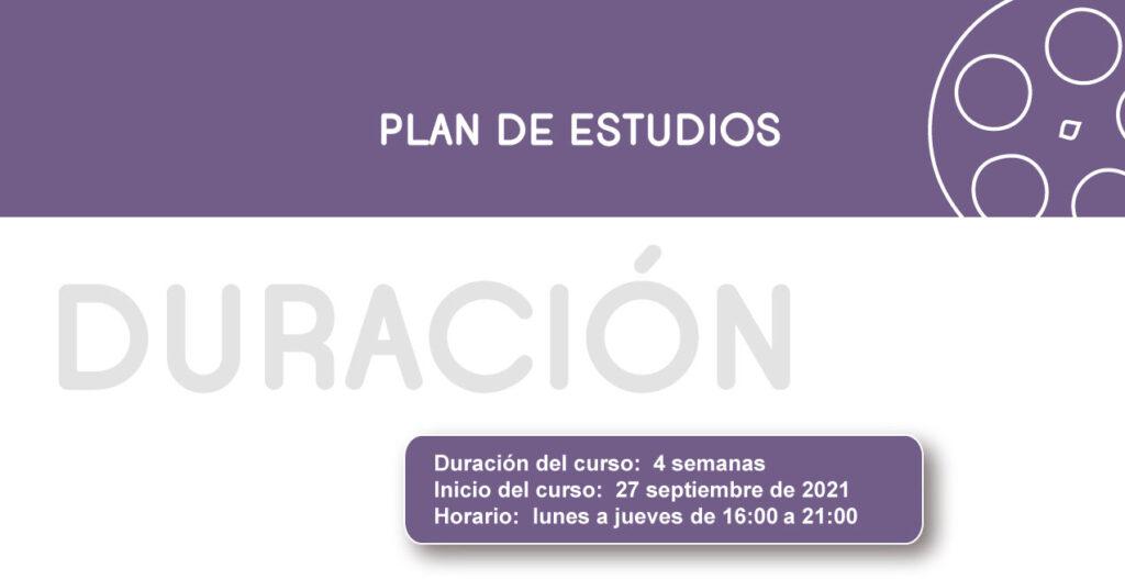 Plan de Estudios Curso Especialización Director de Fotografía